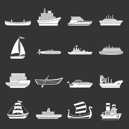 Sea transport icons set grey vector Vettoriali