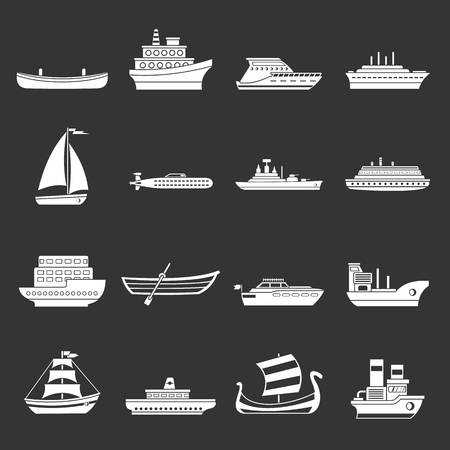 Sea transport icons set grey vector Çizim