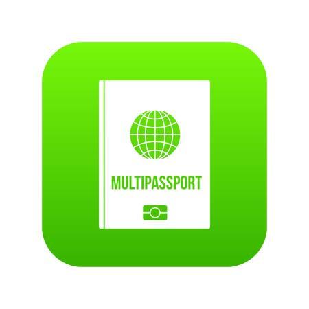 Multipassport icon digital green Illustration