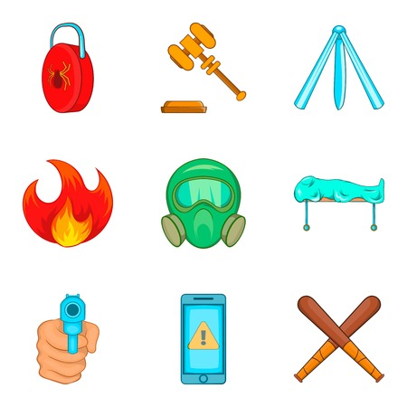 Illegal action icons set, cartoon style