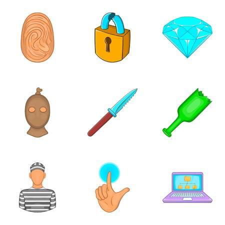 Malpractice icons set, cartoon style Illustration
