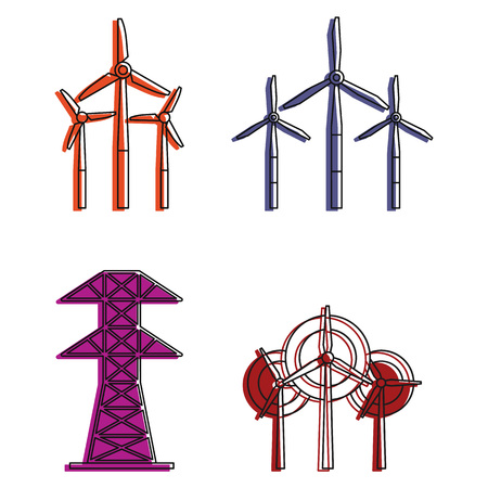 Electric tower icon set, color outline style