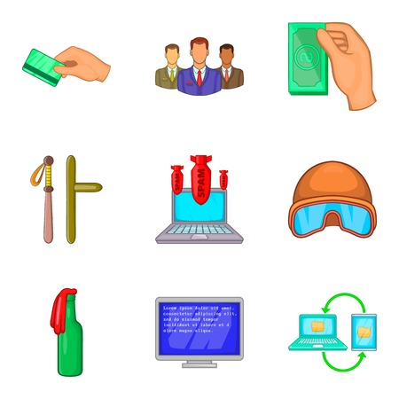 Illegal act icons set, cartoon style