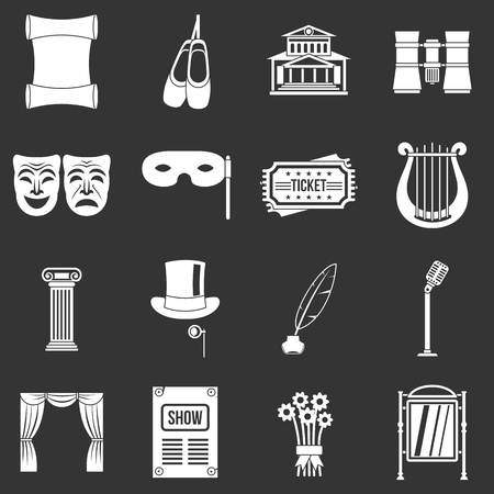 Theater icons set grey vector Ilustracja
