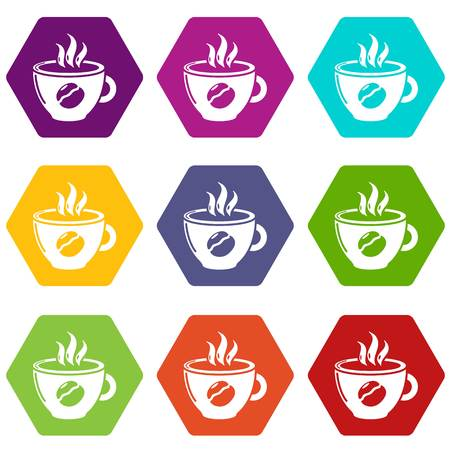 Cup coffee icons set 9 vector
