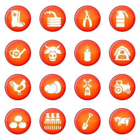 Farm agricultural icons set red vector Illustration