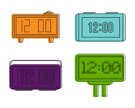Digital clock icon set. Color outline set of digital clock vector icons for web design isolated on white background