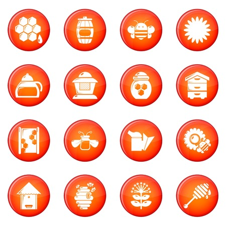 Apiary honey icons set vector red circle isolated on white background