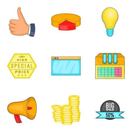 Business undertaking icons set. Cartoon set of 9 business undertaking vector icons for web isolated on white background