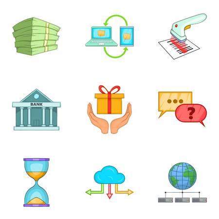 Entrepreneurial activity icons set, cartoon style Иллюстрация