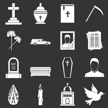 Funeral icons set vector white isolated on grey background