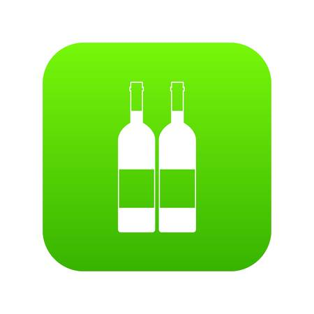 Two bottles of wine icon digital green Illustration