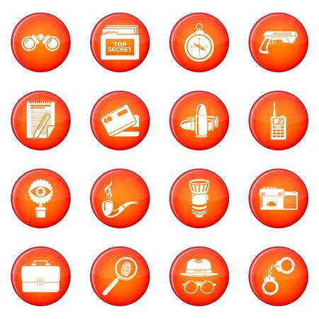 Spy icons set vector red circle isolated on white background  Illustration