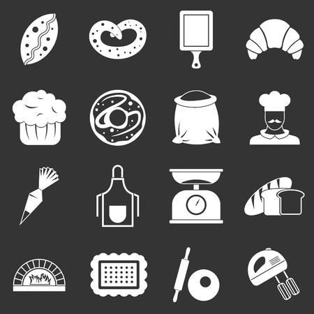 Bakery icons set vector white isolated on grey background  Stock Illustratie