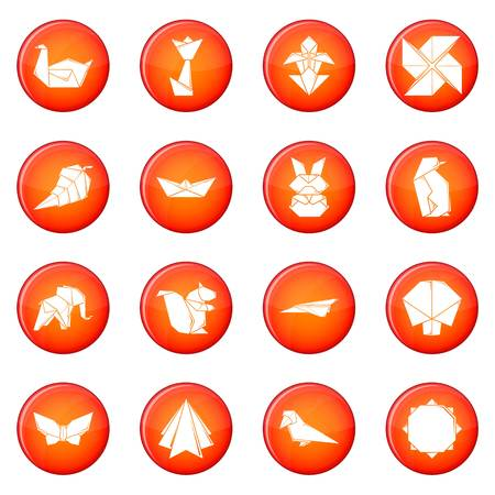 Origami icons set vector red circle isolated on white background