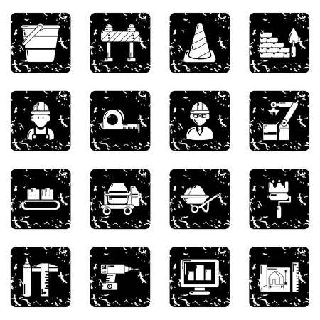 Building process icons set vector grunge isolated on white background