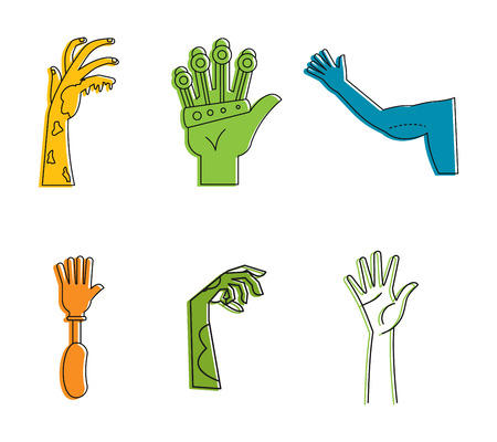 Human hand icon set. Color outline set of human hand vector icons for web design isolated on white background Stock Illustratie