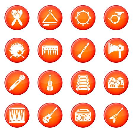 Musical instruments icons set red vector. Illustration