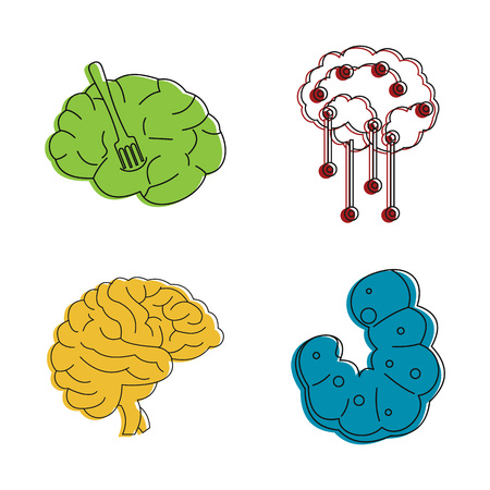 Human brain icon set. Color outline set of human brain vector icons for web design isolated on white background