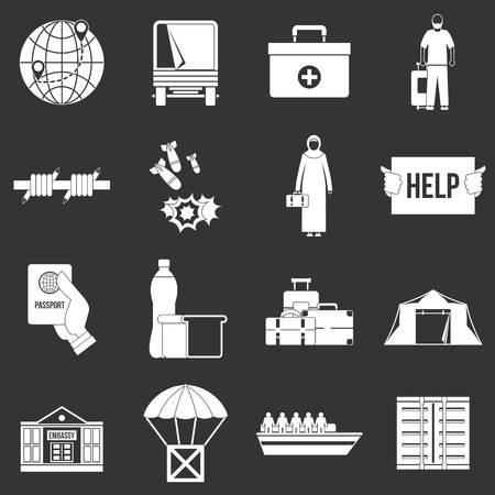 Refugees problem icons set vector white isolated on grey background