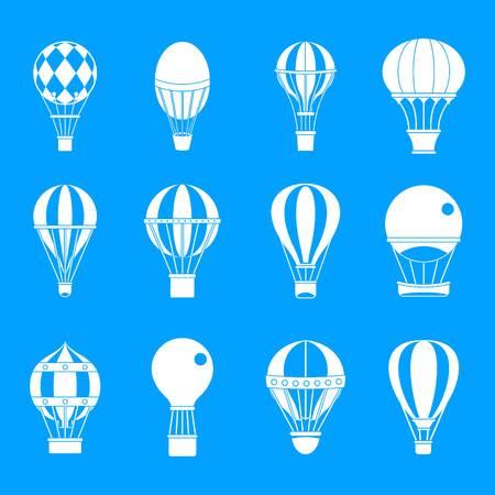 Conjunto de iconos de globo de aire. Conjunto simple de iconos de vector de globo de aire para diseño web aislado sobre fondo azul