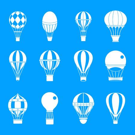 Air ballon icon set. Simple set of air ballon vector icons for web design isolated on blue background