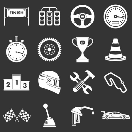 Racing speed icons set vector white isolated on grey background