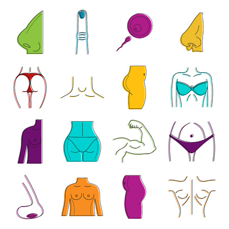 Human body icon set, colour outline style.  イラスト・ベクター素材