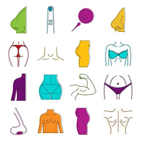 Human body icon set, colour outline style. 일러스트