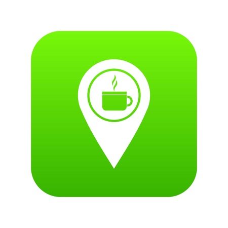 Map pin location with tea or coffee cup sign icon digital green.