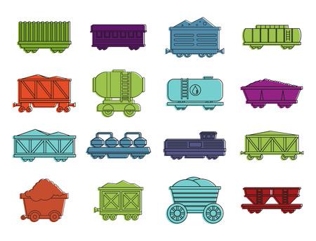Wagon icon set, colour outline style. Иллюстрация