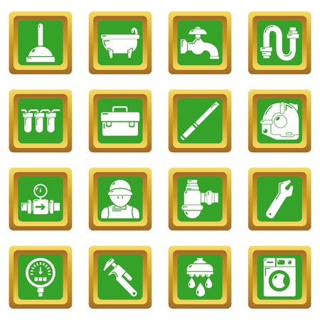 Plumber symbols icons set