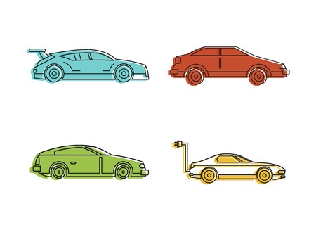 Super car icon set, color outline style Vector illustration.