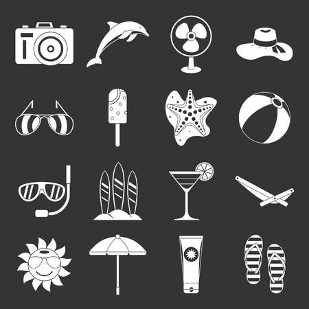 Summer rest icons set grey vector