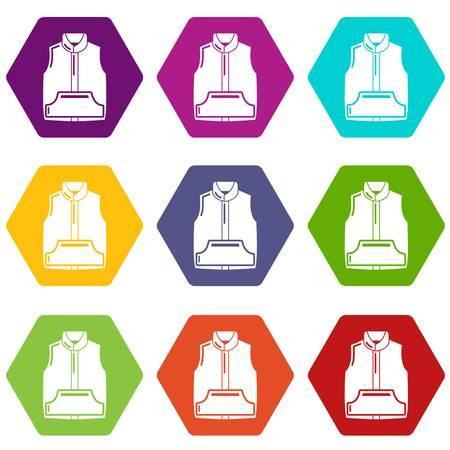 Sleeveless jacket icons 9 set coloful isolated on white for web