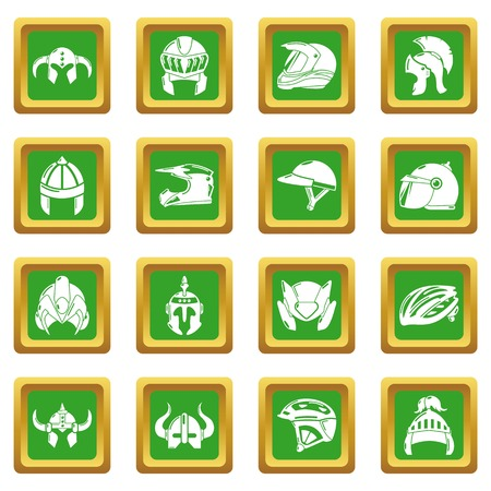Helmet icons set vector green square isolated on white background  Vectores