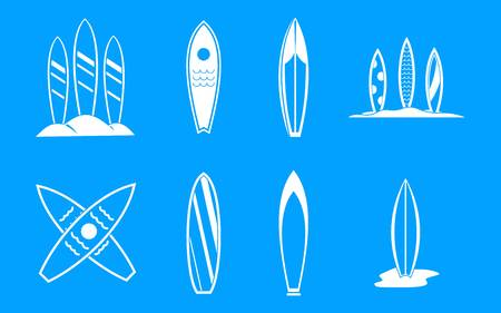 Surf board icon blue set vector.