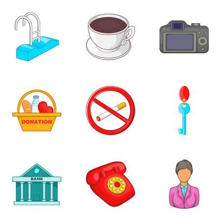 Assimilation icons set, cartoon style. Vettoriali