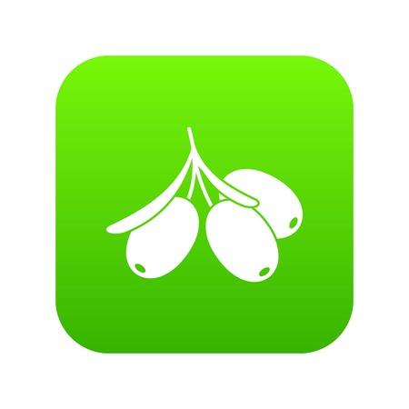Sea buckthorn branch icon digital green.