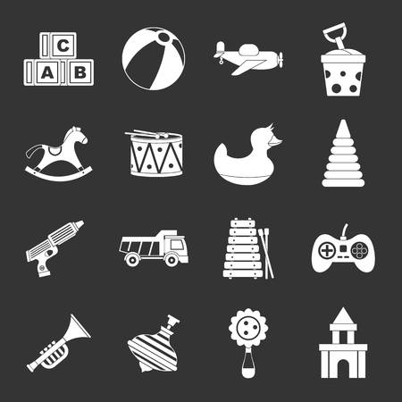 Different kids toys icons set black and white vector.