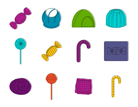 Candy icon set, color outline style.