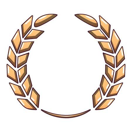 Certified wreath icon, cartoon style.
