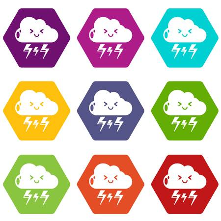 Lightning icons 9 set colorful, isolated on white for web.