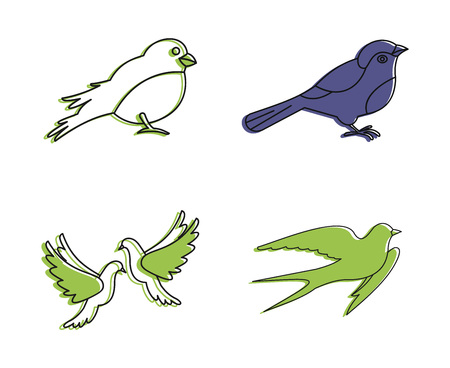 City bird icon set, color outline style.