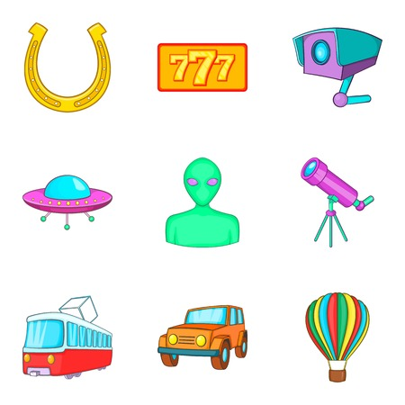 Inspection icons set. Cartoon set of 9 inspection vector icons for web, isolated on white background. Çizim