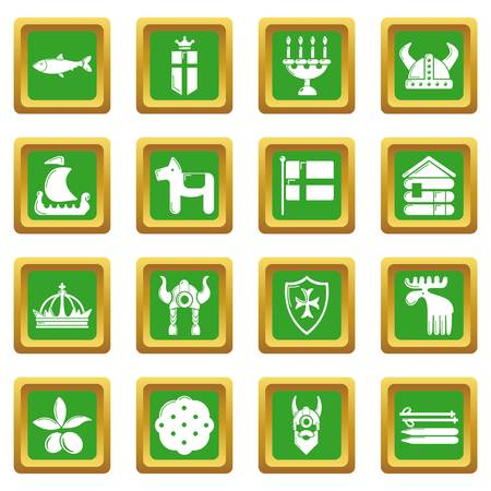Sweden travel icons set green square vector.
