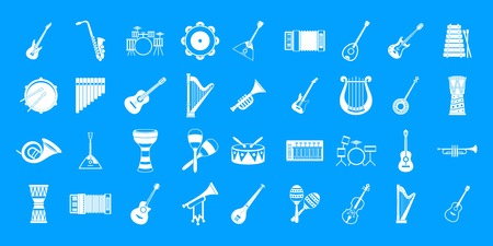 Musical instrument icon blue set vector.