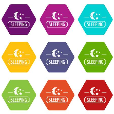 Sleeping moon icons 9 set coloful isolated on white for web Stock Illustratie