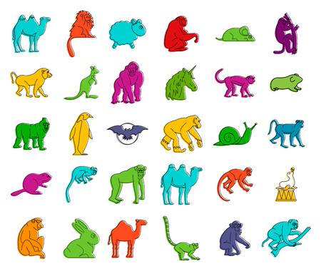 Animals icon set. Color outline set of animals vector icons for web design isolated on white background