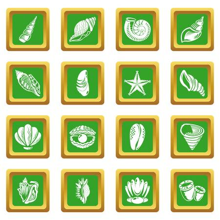 Tropical sea shell icons set vector green square isolated on white background  Ilustração